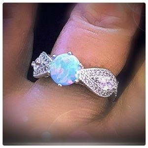 New Blue Opal & CZ Silver Ring sz 6